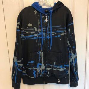 Volvom Zip Hoodie Fleece Lined M Black Blue